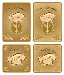 Chef menu cover or board - vector set 2