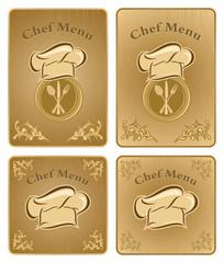 Chef menu cover or board - vector set 2