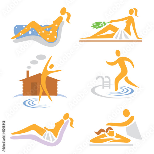 Wellness  sauna spa  massage icons