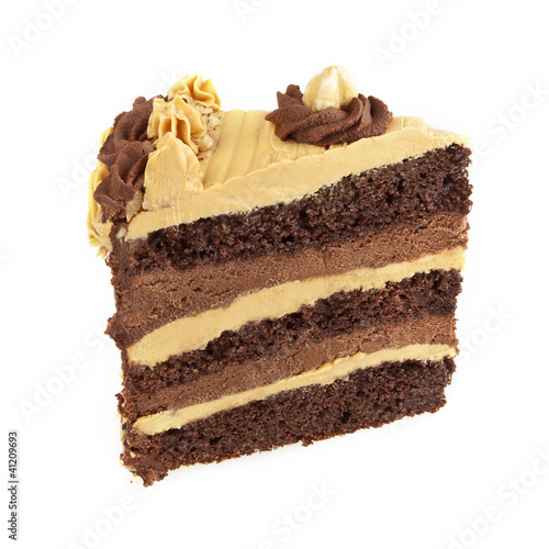 Caramel and chocolate cake isolated
