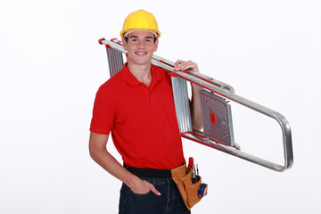 craftsman carrying a ladder