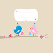 2 Birds With Gifts On Tree Speech Bubble