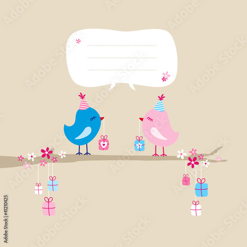 2 Birds With Gifts On Tree Hanging Gifts Speech Bubble