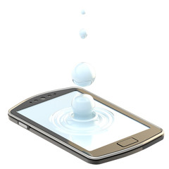 Liquid drop on the smartphone surface