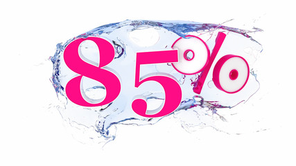 Summer sale or discount tags 85 percent water splash
