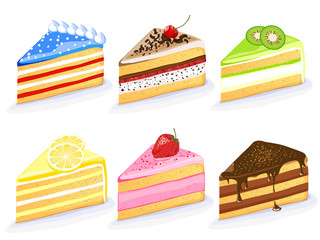 Vector illustration of different cakes
