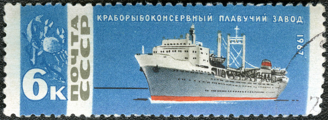 USSR - 1967: shows Crab canning ship
