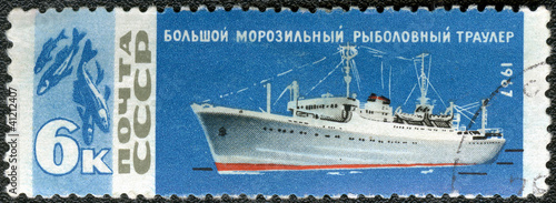 USSR - 1967: shows Trawler fish factory and fish