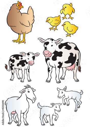 Mother & Baby hen, cow & goat