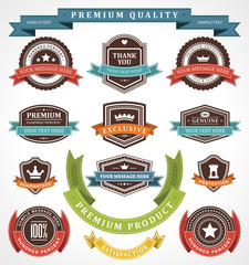 Vintage labels and ribbons set vector design elements