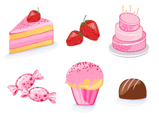 Vector illustration of different strawberry products