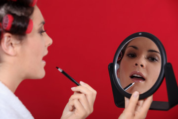 Woman making up