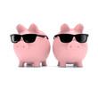 Zwei Sparschweine mit Sonnenbrille
