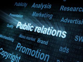 Pixeled word Public relations on digital screen