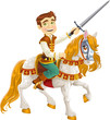 Prince Charming on a white horse ready for feats
