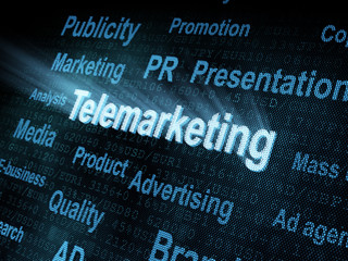 Pixeled word Telemarketing on digital screen