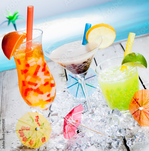 Trio of different tropical bubble teas