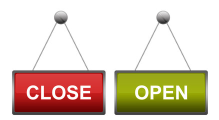 Hanging Open and Closed Business Signs
