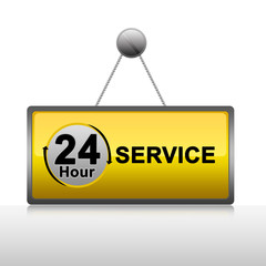 Hanging 24 Hour Service Plate Isolate on White Background
