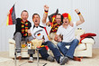 german soccer fans on the sofa