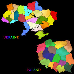Map of Poland and Ukraine with the regions