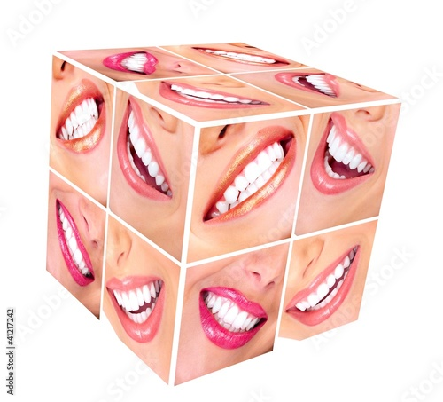 Woman smile cube collage.