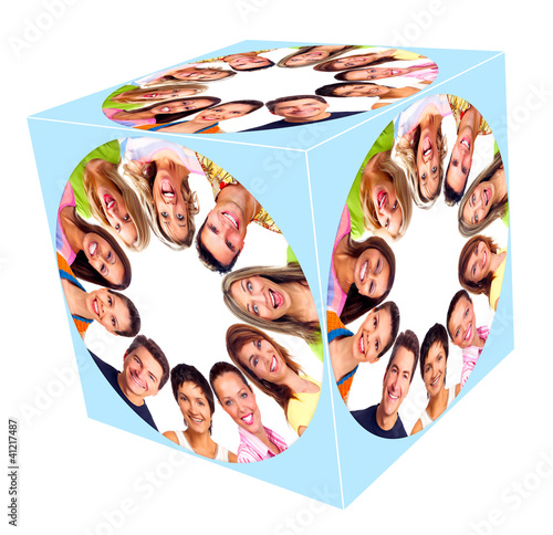 People smile cube collage.