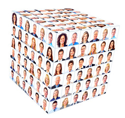 Group of business people. Cube collage.