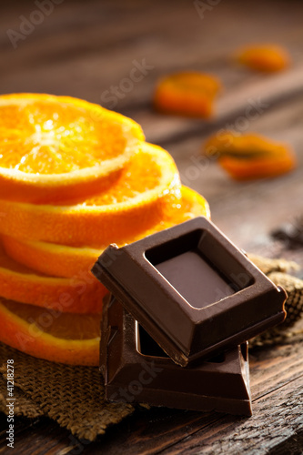 Chocolate Squares with Orange Slices