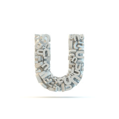White lowercase letter u isolated on white.