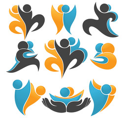 vector collection of abstract, sportive people symbols