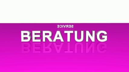 Text Rotation - 100% Beratung Service Kompetenz - Pink Weiß
