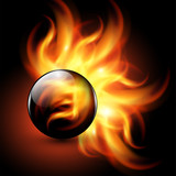 Background - 3D sphere with fire flames inside