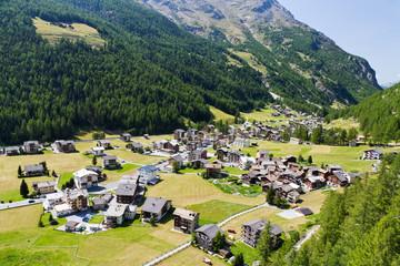 alpine village in Switzerland valley