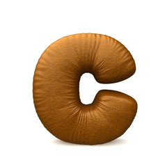 brown leather letter c