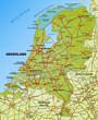 Autobahnkarte der Niederlande mit Nachbarländern