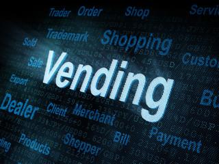 Pixeled word Vending on digital screen
