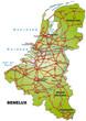 Inselkarte der Beneluxländer mit Hauptstädten und Autobahnen