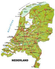 Inselkarte der Niederlande mit Autobahnen