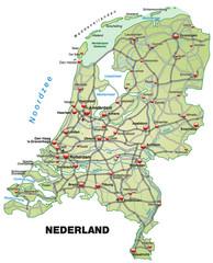 Inselkarte der Niederlande mit Autobahnen und Hauptstädten
