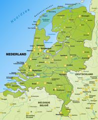 Übersichtskarte der Niederlande mit Nachbarländern