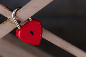 Red lock  in the shape of heart