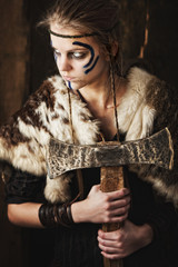 Female warrior with axe