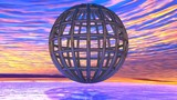 Mysterious Wireframed globe levitating on the ocean poster