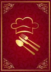 Kırmızı fonda altın çerçeveli aşçı logosu