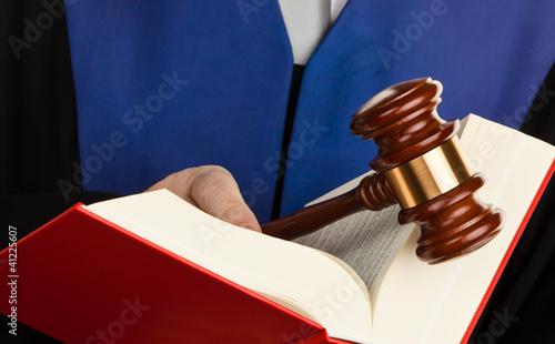 Richter mit Gesetzbuch und Richterhammer