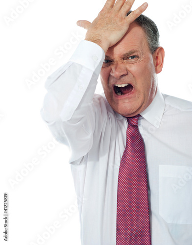 Cropped image of a disturbed businessman