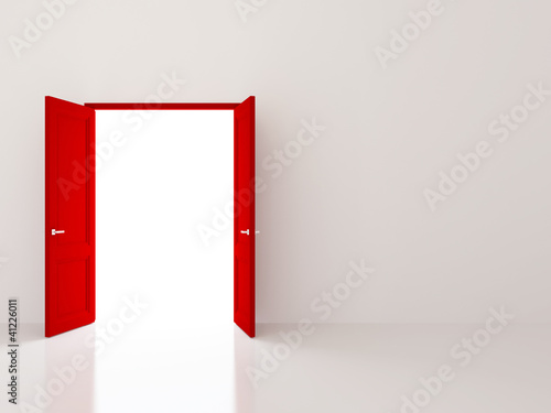Red doors over white wall
