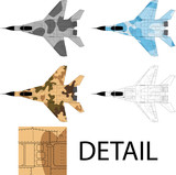 Detailed vector of a modern military airplane with camouflage