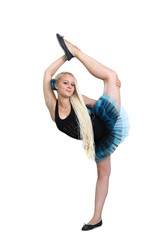 girl  gymnast in an acrobatic pose.